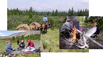 Pack horses, campfire, lunch in the alpine.
